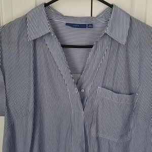 APT. 9 blue striped cap sleeve top - Petite L